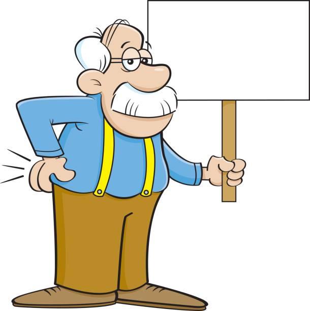 cartoon old man holding a sign. - old man funny cartoon stock illustrations, clip art, cartoons, & icons