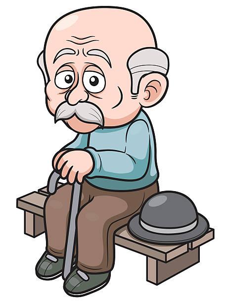 cartoon old man - old man hat stock illustrations, clip art, cartoons, & icons