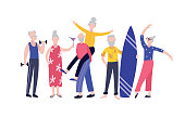 Cartoon old people having fun together - senior group of friends drinking, doing sports, dancing and living healthy lifestyle. Active retired community - flat isolated vector illustration.