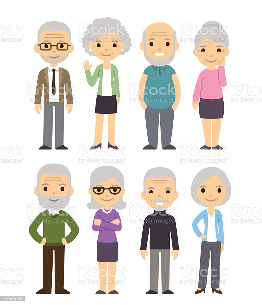 Cartoon old people set vector art illustration