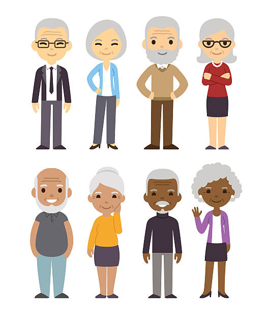 Cartoon old people set Diverse cartoon senior couples set. Happy old people, men and women, asian, black and white. Isolated flat vector illustration. asian woman stock illustrations