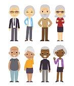 Cartoon old people set