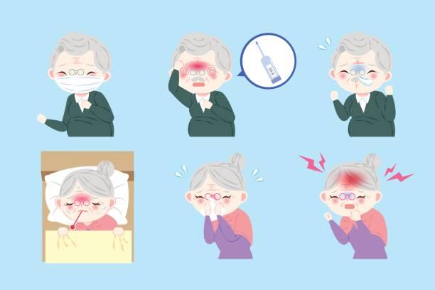 cartoon old people sick - old man mask stock illustrations, clip art, cartoons, & icons