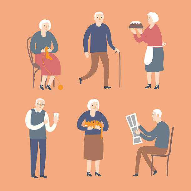 cartoon old people spending leisure time - old man computer silhouette stock illustrations, clip art, cartoons, & icons