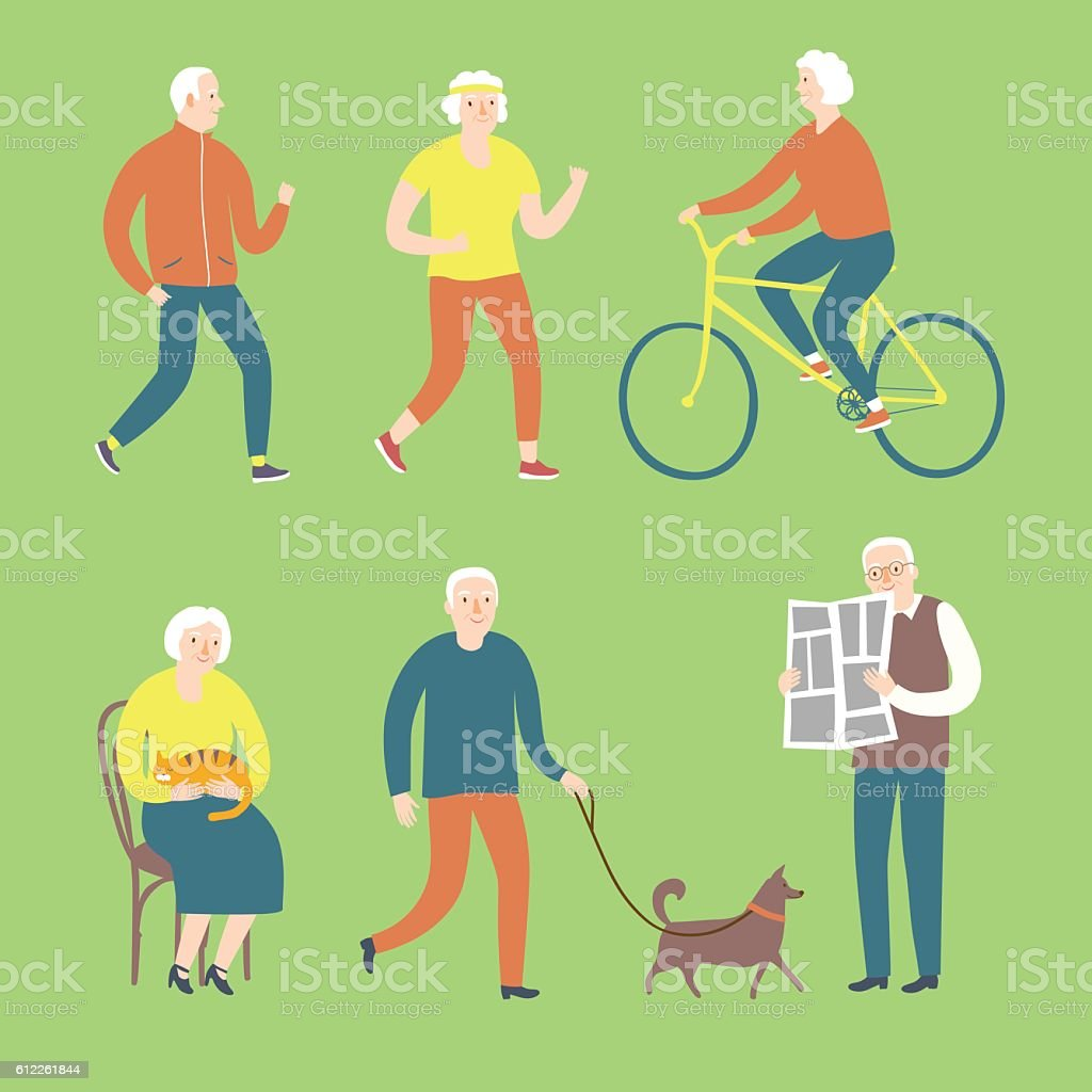 Cartoon old people spending leisure time vector art illustration