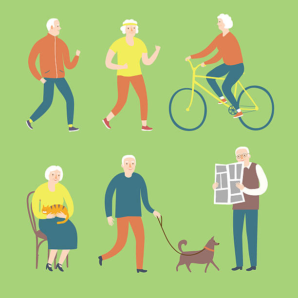 cartoon old people spending leisure time - old man smile silhouette stock illustrations
