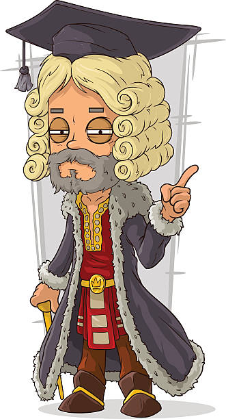 cartoon old rich medieval blond judge - old man long beard silhouettes stock illustrations, clip art, cartoons, & icons