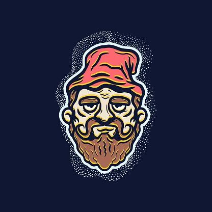Cartoon Old Sorcerer T-shirt Design Illustration