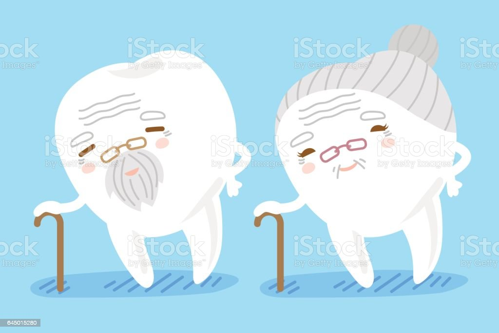 cartoon old tooth use crutch vector art illustration