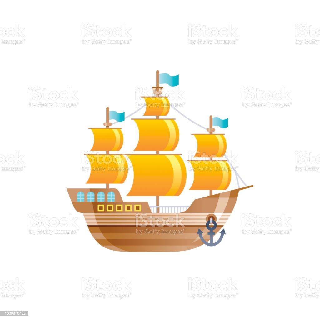 Vetores De Icone Dos Desenhos Animados Do Velho Navio Vintage Retro Galeao Para Logotipo Viagem De Mar Cruzeiro E Projeto De Transporte De Agua Ilustracao Em Vetor Plana Isolada No Fundo Branco
