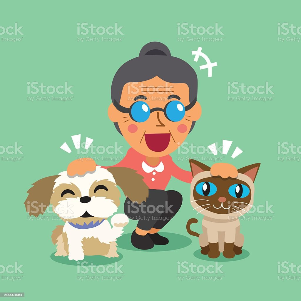 Cartoon old woman and her pets vector art illustration