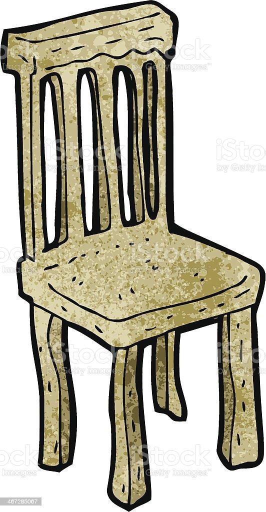 Мультяшный старый Деревянный стул — стоковая векторная