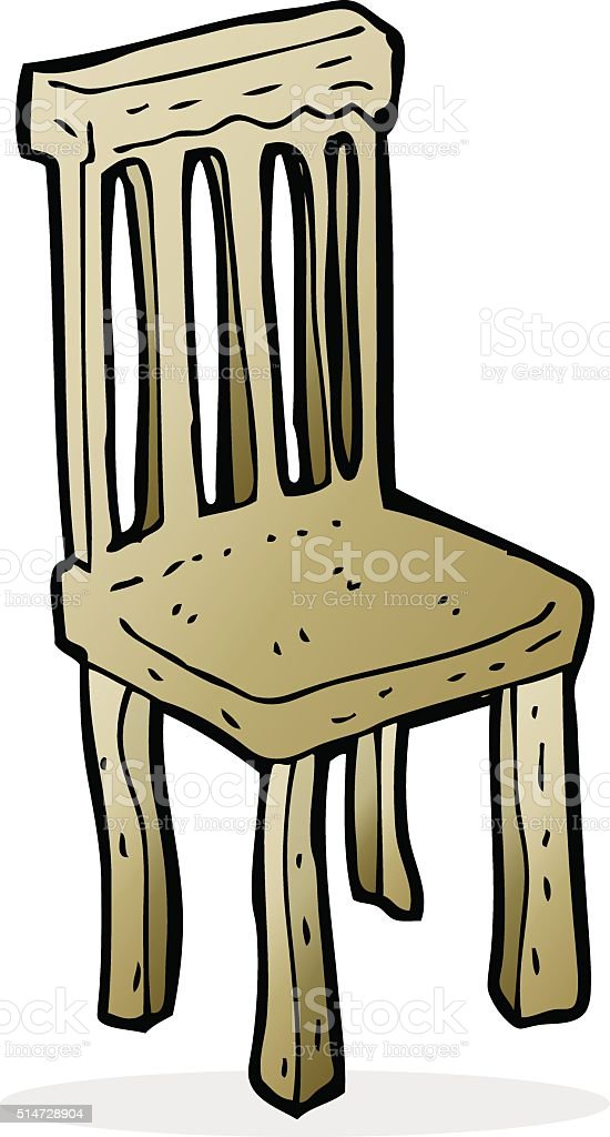 Cartoon Old Wooden Chair Stock Illustration Download Image