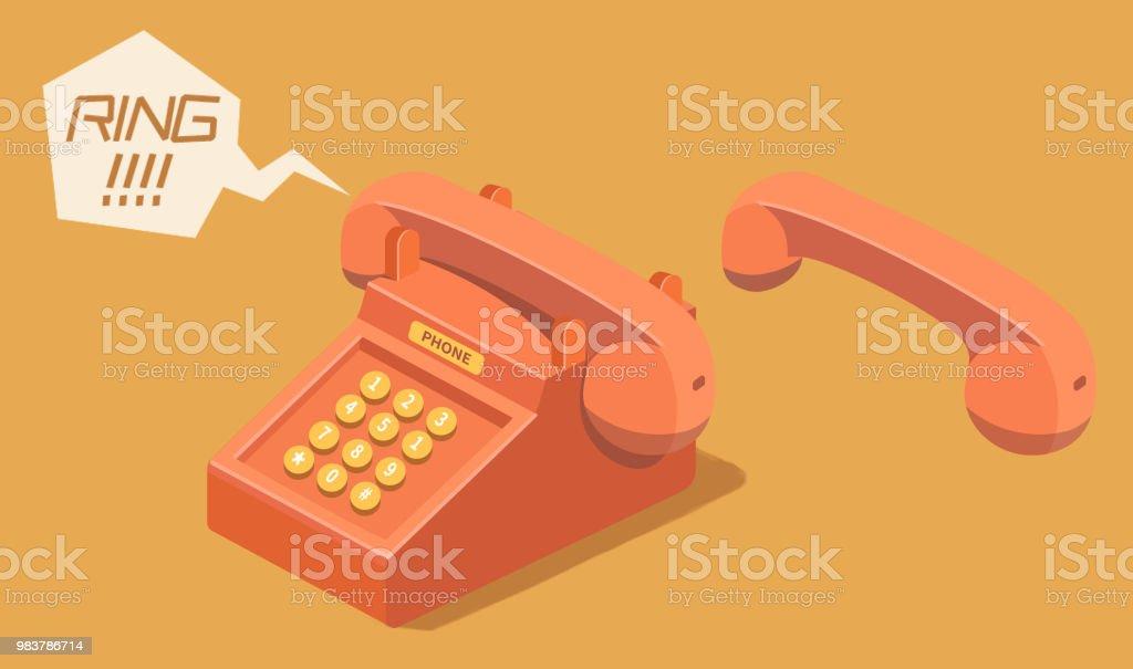 Cartoon Oldstyle Phone Stock Illustration - Download Image