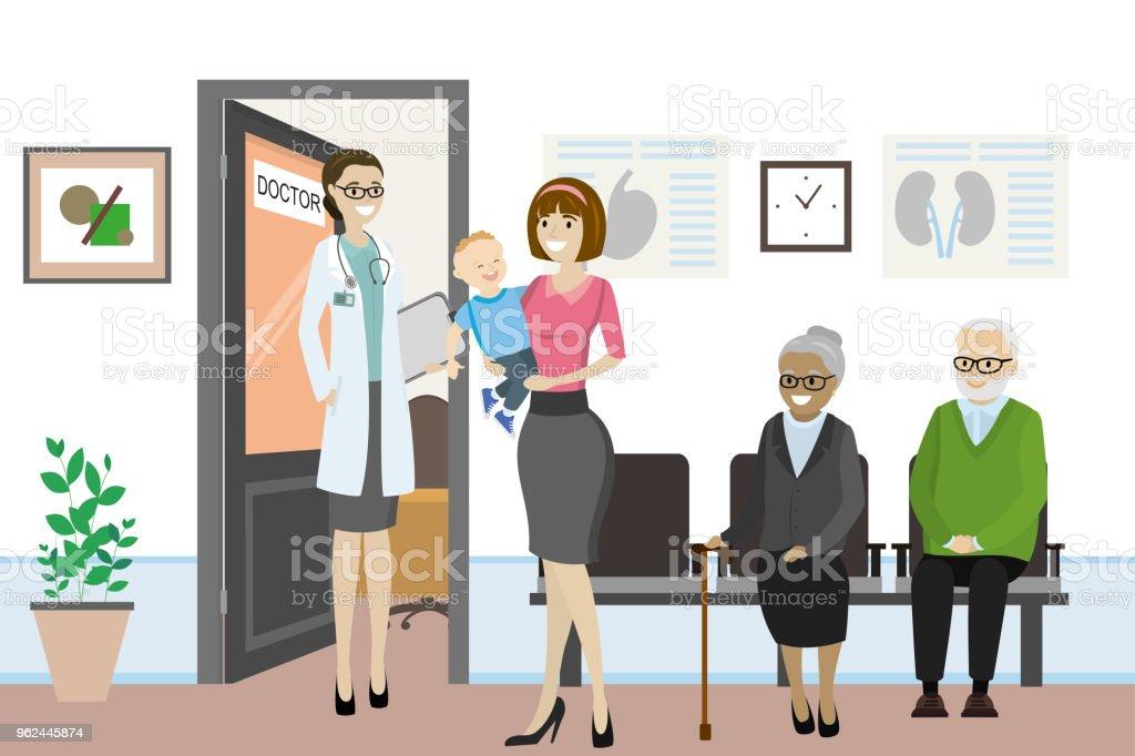 Kantoor En Meer : Cartoon opendeur naar de dokter kantoor en verschillende mensen