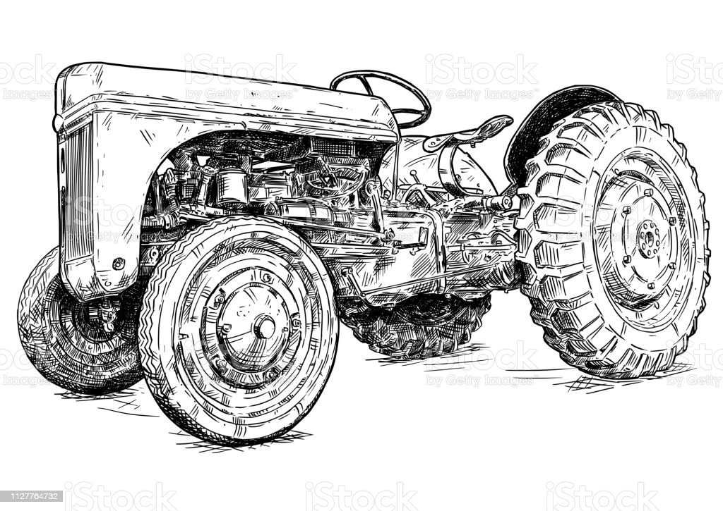 Cartoon or Comic Style Drawing of Old or Vintage Red Tractor vector art illustration