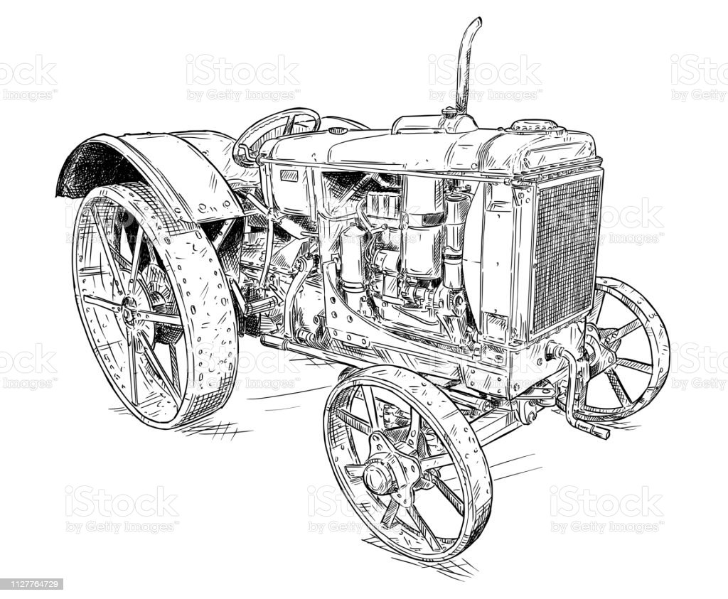 Cartoon or Comic Style Drawing of Old or Vintage Tractor vector art illustration