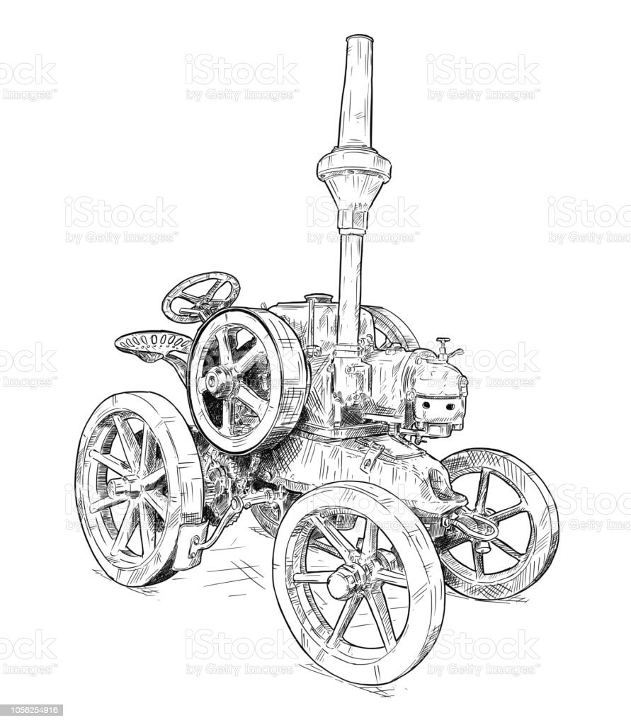 Cartoon or Comic Style Illustration of Old Vintage Tractor vector art illustration