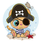 istock Cartoon Orange Kitten in a pirate hat 1282983012