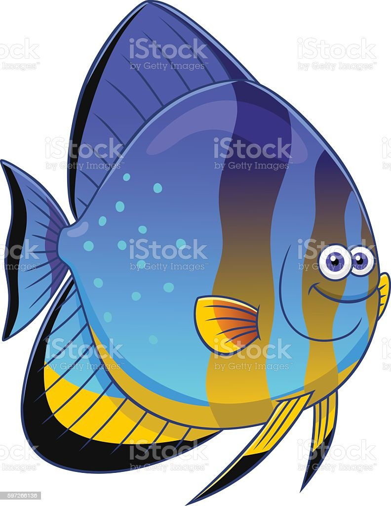 Cartoon orbicular batfish Lizenzfreies cartoon orbicular batfish stock vektor art und mehr bilder von comic - kunstwerk