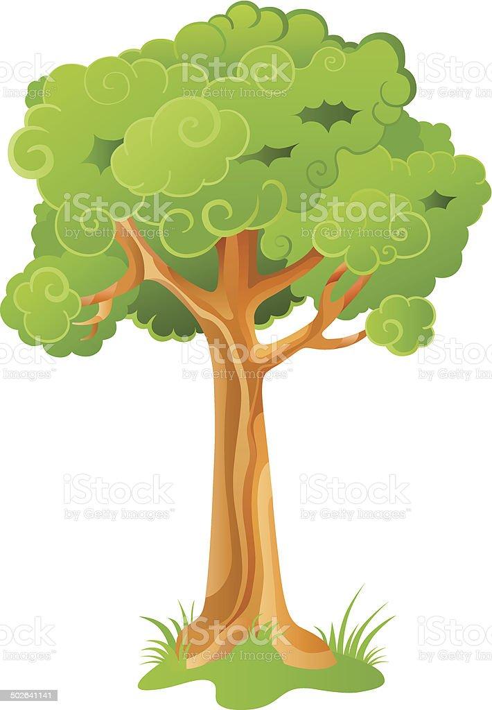 Cartoon ornamental tree vector art illustration