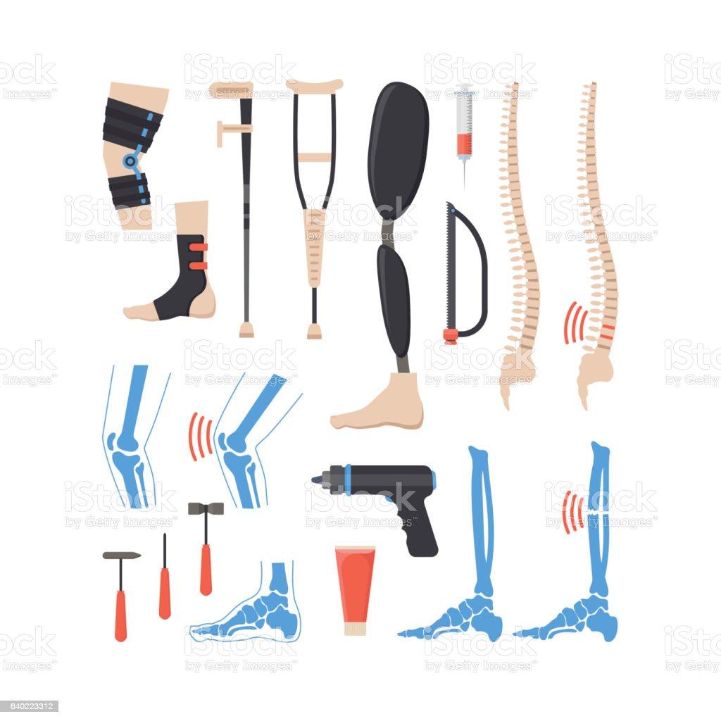 Cartoon Orthopedic Elements Set. Vector vector art illustration