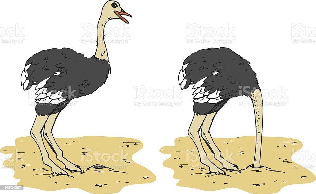 Avestruz resumo dos cabeça enterrada na areia - ilustração de arte em vetor