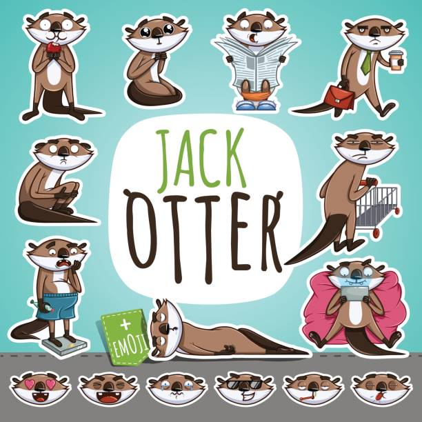 cartoon otter character. emoticon stickers - otter stock illustrations, clip art, cartoons, & icons