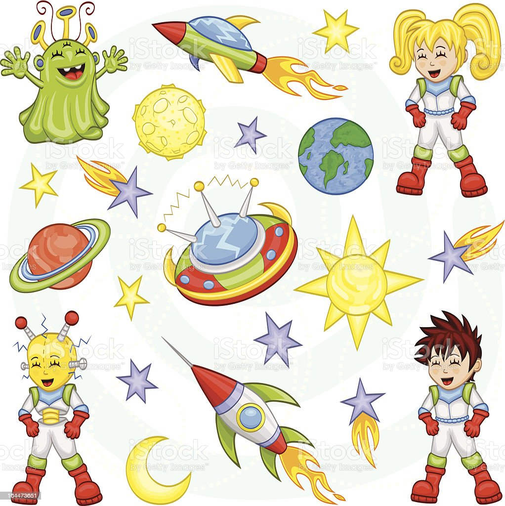 Cartoon outer space set royalty-free stock vector art