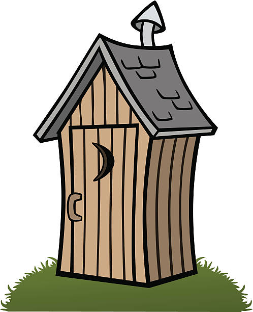 Cartoon Outhouse vector art illustration