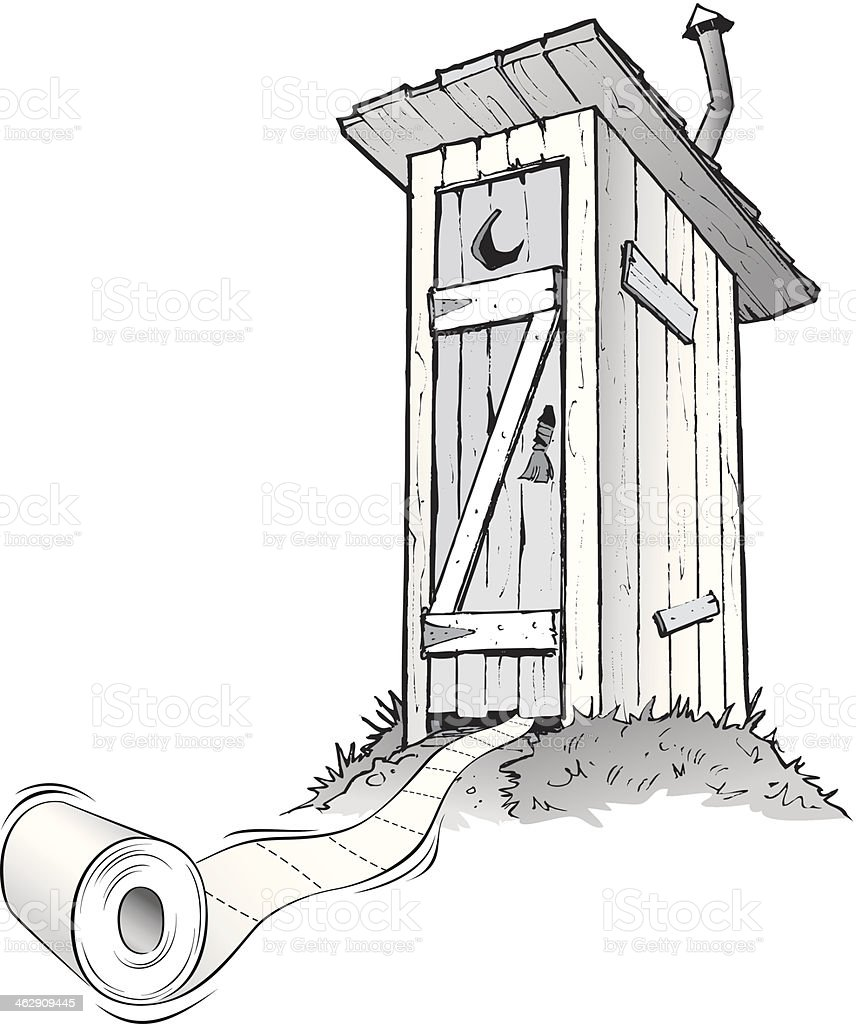 Cartoon outhouse with toilet paper rolling out of it vector art illustration