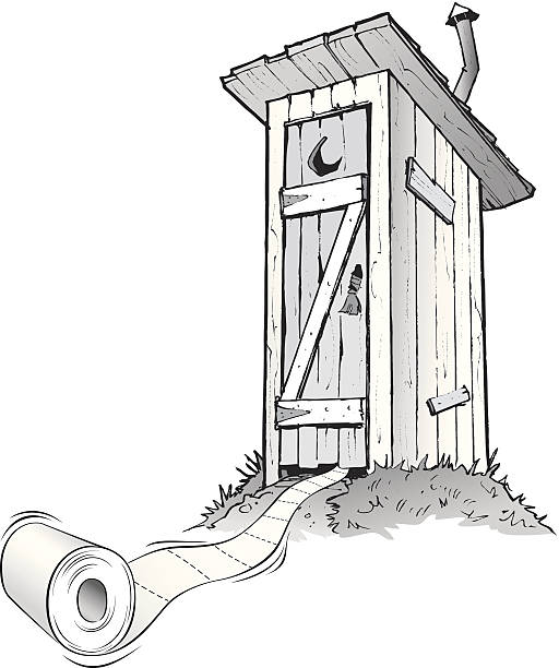 stockillustraties, clipart, cartoons en iconen met cartoon outhouse with toilet paper rolling out of it - gemak