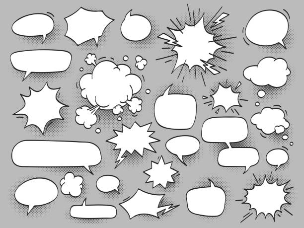 cartoon oval discuss speech bubbles and bang bam clouds with hal cartoon oval discuss speech bubbles and bang bam clouds with halftone shadow. Outline blank white chat cloud, balloons for comics vector illustration set isolated speech bubble stock illustrations