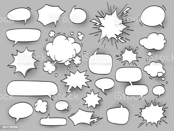 卡通橢圓形討論語音氣泡和砰 Bam 雲與哈爾向量圖形及更多一組物體圖片
