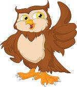 vector illustration of Cartoon owl bird thumb up