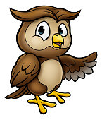 A cartoon owl character pointing with his wing