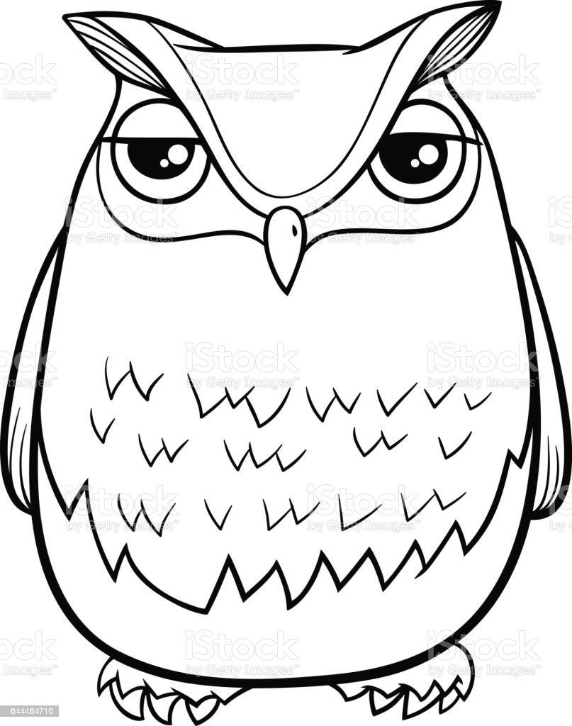 Página Para Colorear De Dibujos Animados Búho - Arte vectorial de ...
