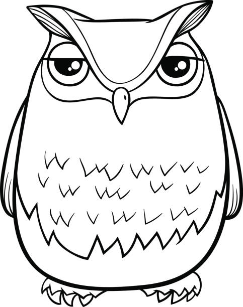 cartoon owl coloring page - black and white owl stock illustrations, clip art, cartoons, & icons