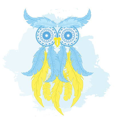 cartoon owl from hand drawn feather and mandala