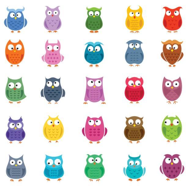 Cartoon Owl Icons Cute vector owls set bird clipart stock illustrations