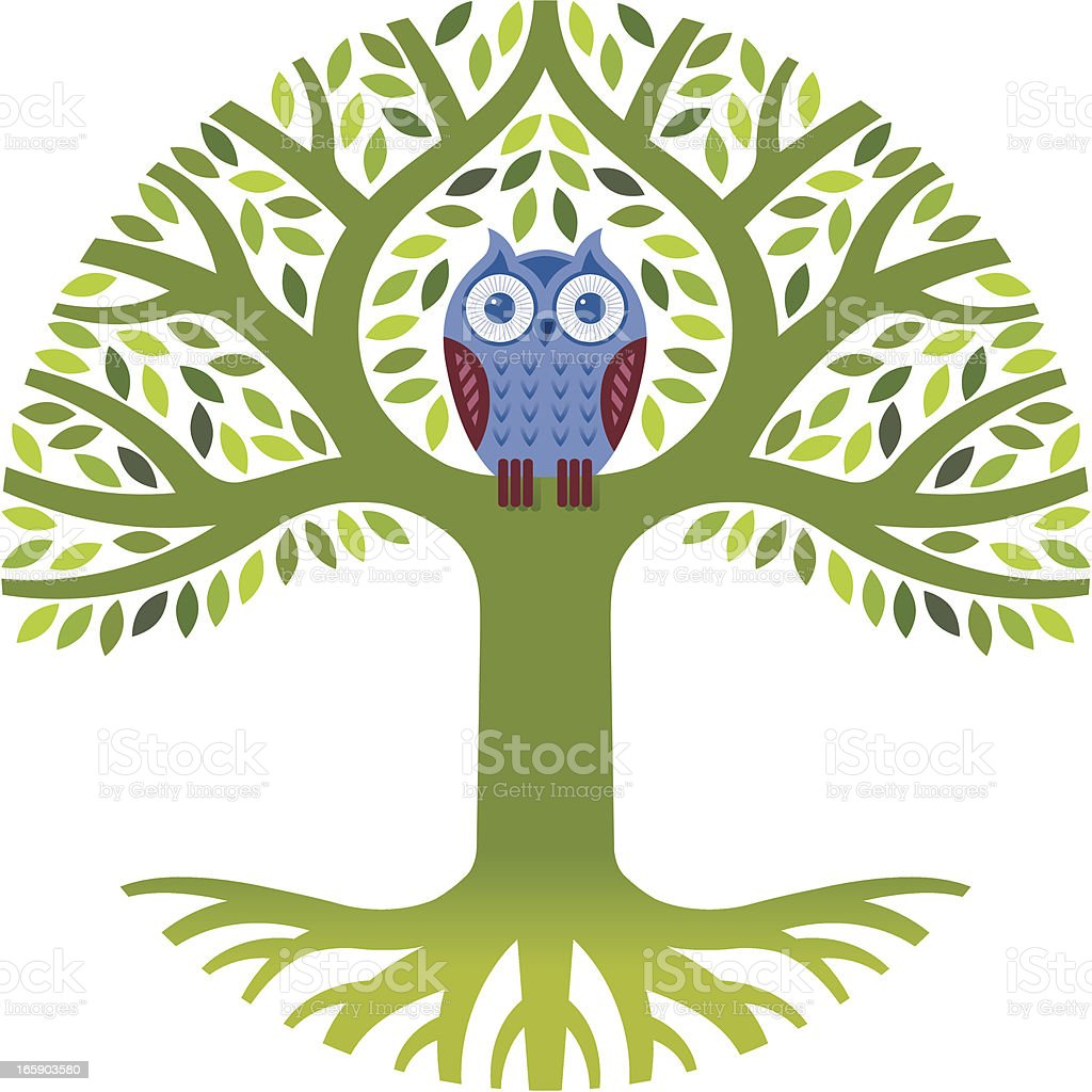 A cartoon owl in a tree that is green royalty-free stock vector art