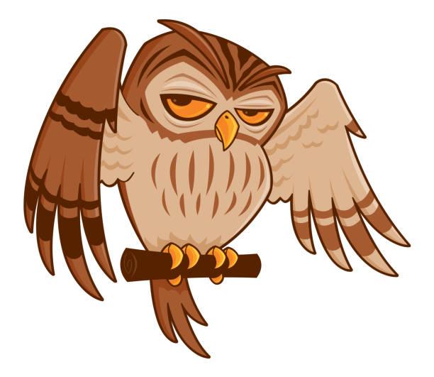 Cartoon Owl on Perch vector art illustration