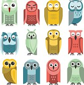 Cute vector collection of bright cartoon owls. Animal character cartoon owl comic funny collection. Doodle cheerful birds behavior cartoon owl. Adorable different owl various expression birds.
