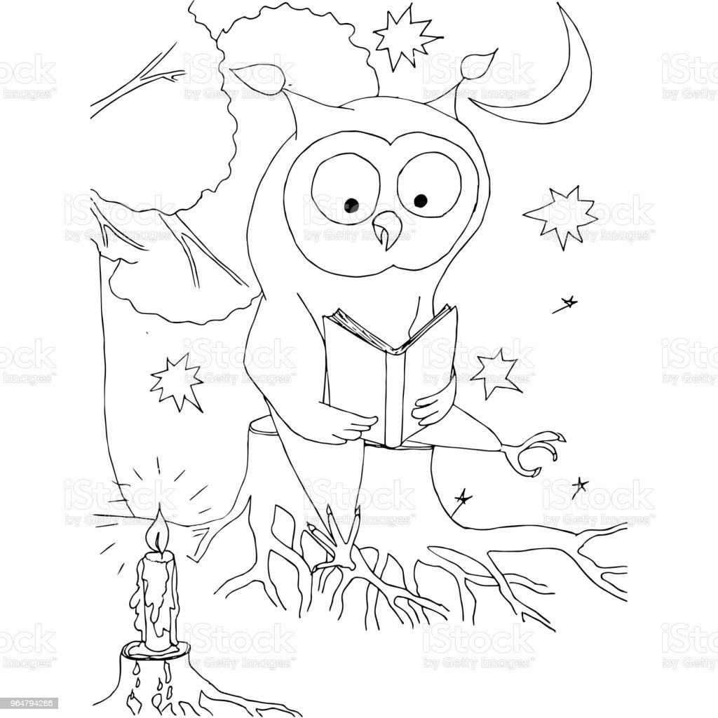 çizgi Film Baykuş Oturma Güdük Ay Yıldız üzerinde Kitap Ile Hisse