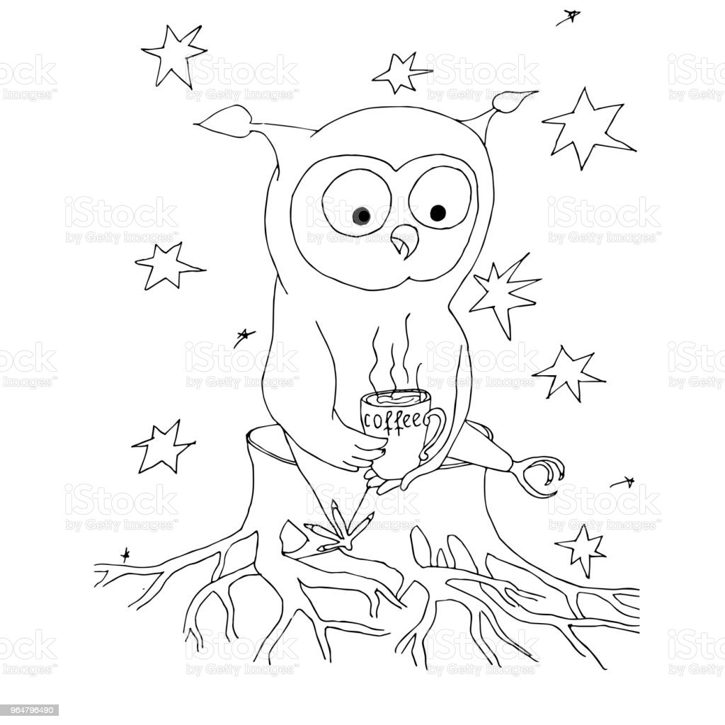 Cartoon owl with cup of coffee, stars. Monochrome hand drawn stock vector illustration for web, for print, for coloring book royalty-free cartoon owl with cup of coffee stars monochrome hand drawn stock vector illustration for web for print for coloring book stock vector art & more images of cartoon
