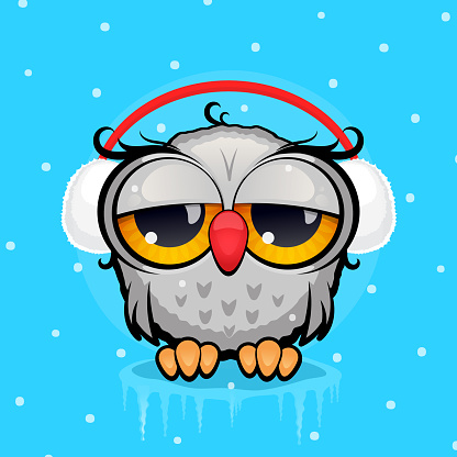 Cartoon Owl with headphones made of white fur against a blue background with watered snow. Winter, new year concept