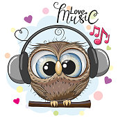 Cartoon Owl with headphones on a white background