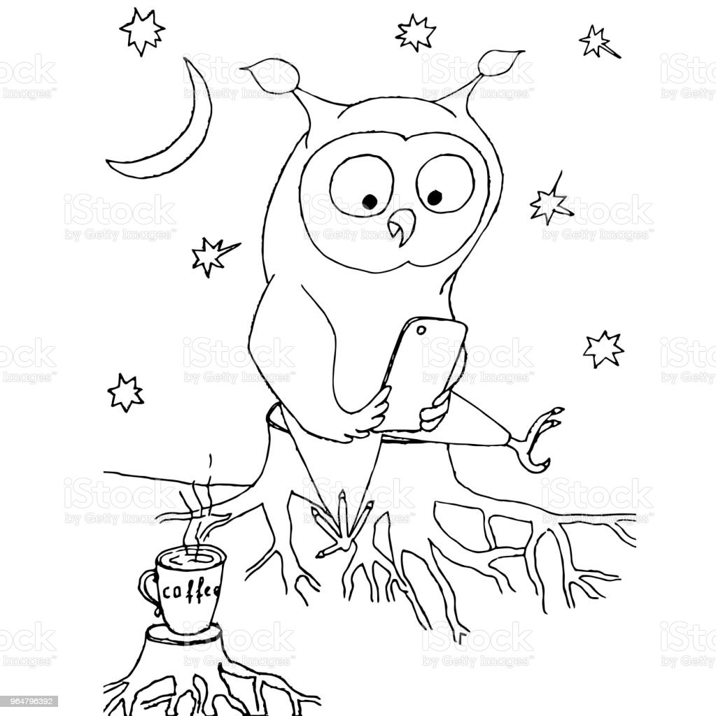 Cartoon owl with mobile phone sitting on stump, cup of cofee, moon, starss. Monochrome hand drawn stock vector illustration for web, for print, fpr coloring book royalty-free cartoon owl with mobile phone sitting on stump cup of cofee moon starss monochrome hand drawn stock vector illustration for web for print fpr coloring book stock vector art & more images of cartoon