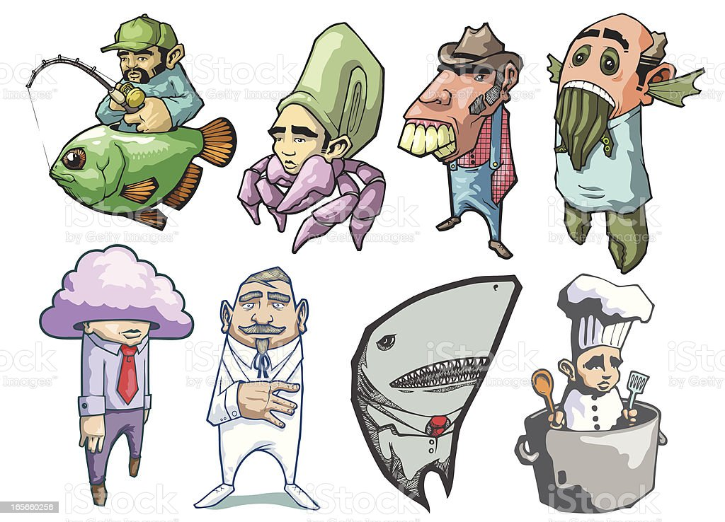 Cartoon Package of Odd, Creative Characters and Creatures vector art illustration