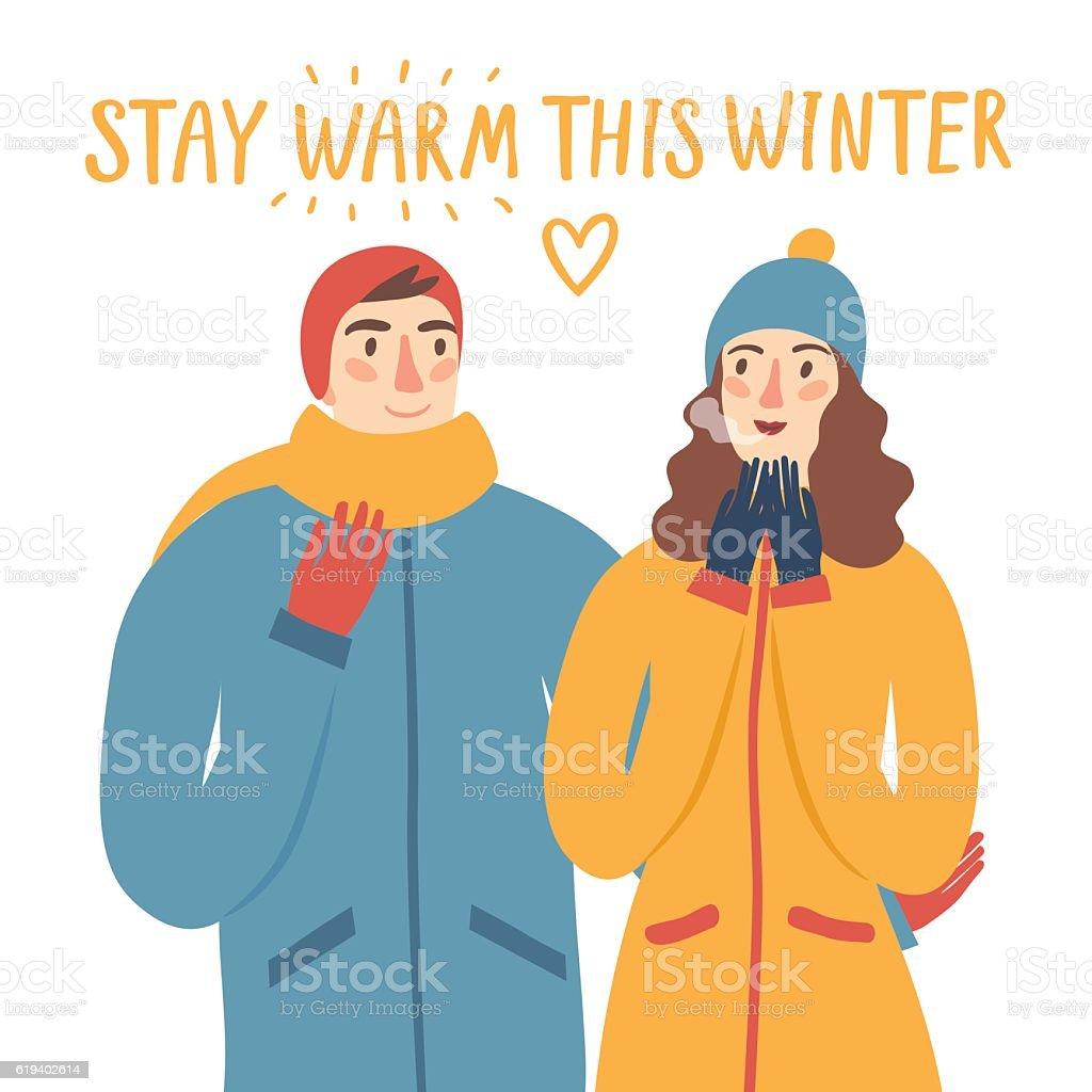 Cartoon pair in winter clothes illustration